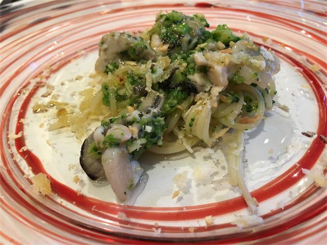 牡蠣とブロッコリーのタルタル冷製パスタ仕立て