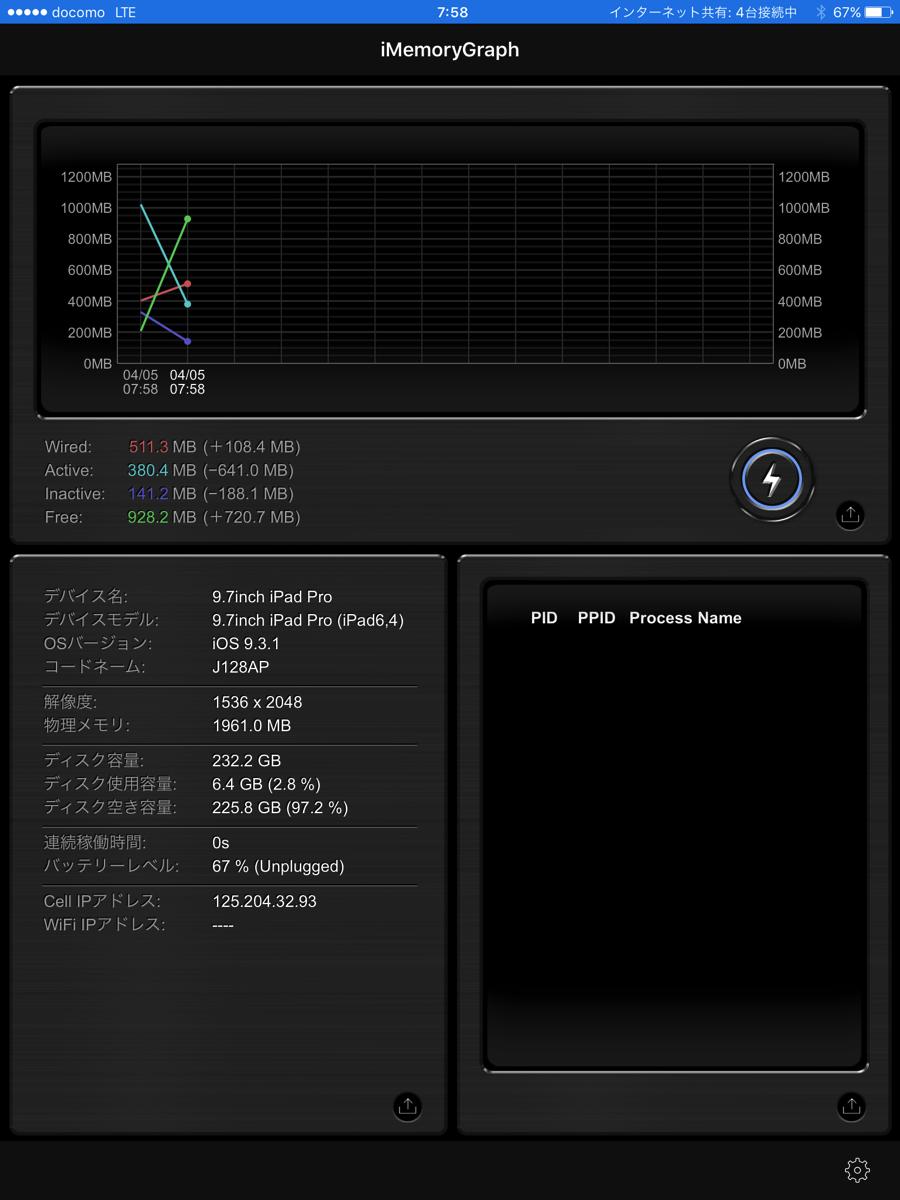 9.7インチ iPad Pro の内蔵メモリ容量は 2GB。実機で確認!