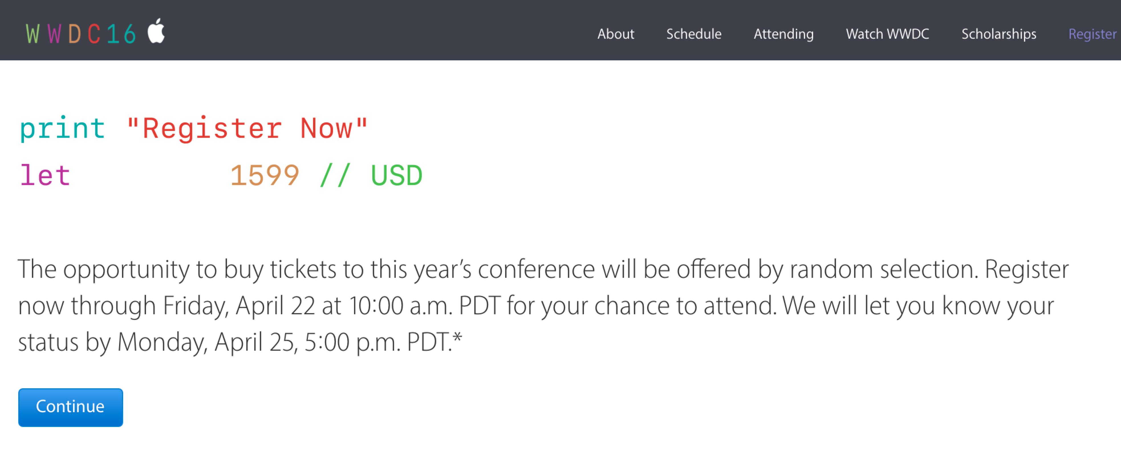 WWDC 2016 開催決定&申込受付開始!! 【速報】