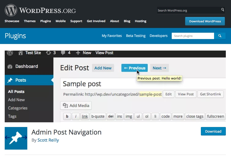 Admin Post Navitation 〜 記事エディタ画面で前後の記事に移動するWPプラグイン